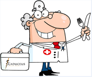 Cartoon image of doctor holding bag and utensils