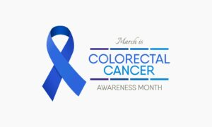 blue ribbon indicating colorectal cancer awareness month