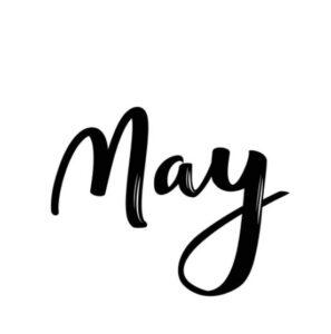 Word May in black cursive